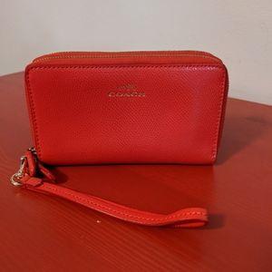 COACH Red Wristlet Zipper Wallet
